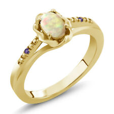 0.33 Ct Oval Cabochon White Ethiopian Opal Purple Amethyst 18K Yellow Gold Ring