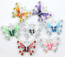 Lot 5/20/50Pcs Silver Plated Beauty Butterfly Enamel Crystal Charms Pendant Gift