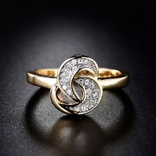 Sz6/7/8/9 18K Multi-Tone Gold Round Cut White Topaz Fashion Women's Ring Jewelry