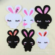10PCS/SET Black and White Rabbit Style Embroidered Patch Iron/Sew On Kid's Cloth