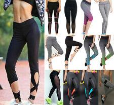 Women High Waist Yoga Fit Leggings Running Gym Spandex Sport Pants Trousers S379