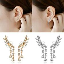 Fashion Women Rhinestone Leaf Ear Stud Earrings Crystal Ear Cuff Jewelry