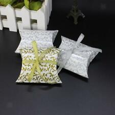 50pcs Paper Pillow Gift Boxes Candy Box Wedding Party Favors Bags With Ribbon