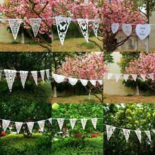 Vintage White Lace Paper Wedding Engagement Birthday Bunting Banner Party Decor