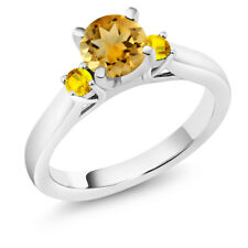 0.97 Ct Round Yellow Citrine Yellow Sapphire 925 Sterling Silver 3-Stone Ring