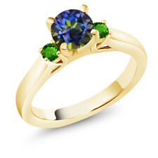 1.28 Ct Blue Mystic Topaz Green Simulated Tsavorite 18K Yellow Gold 3-Stone Ring