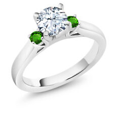 1.78Ct White Zirconia Green Simulated Tsavorite 925 Sterling Silver 3-Stone Ring