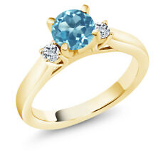 1.18 Ct Round Swiss Blue Topaz White Topaz 18K Yellow Gold Plated Silver Ring