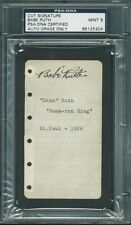 Yankees Babe Ruth Signed 2.5x4.25 Cut w/ Graded Mint 9 Autograph! PSA Slabbed