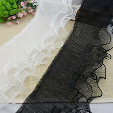 3 layer gauze lace Pleated Organza Lace Edge Trim Gathered Ribbon Sewing L54