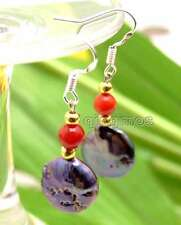SALE 12-13mm Black Coin Round Natural FW Pearl & Red Coral dangle Earring-ear469