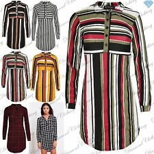 Womens Ladies Multicolour Stripes Collared Front Buttons Full Sleeve Shirt Dress