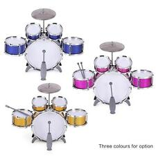 Children Kids Drum Set Toy 5 Drums with Cymbal Stool+Drum Sticks Red V8F3