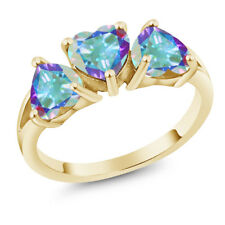 2.85 Ct Heart Shape Mercury Mist Mystic Topaz 18K Yellow Gold 3-Stone Ring