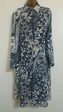 NEW Plus Size 16-32 Abstract Floral Print Blue & White Shirt Dress Tunic Top