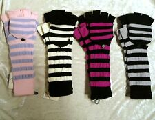 Long Striped Wool Knit Fingerless Mittens Gloves PUNK WINTER Boys Girls Unisex
