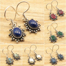 925 Silver Plated Earrings ! Natural LAPIS LAZULI & Other Gems ART FASHION Gift