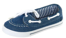 Girls Canvas Blue Denim Boat Tennis Shoes Loafers Flats Slip On Sneakers Kids