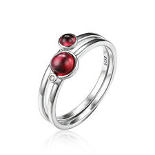 New 0.8ct Natural Garnet Band Stackable Ring Sets Solid 925 Sterling Silver