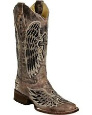 Corral Ladies Square Toe Cowboy Western Boots Brown Black Wing Cross A1197