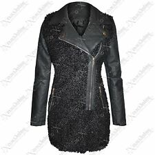 LADIES BLACK COAT BOUCLE QUILTED FAUX LEATHER WOMENS LONG JACKET MILITARY LOOK