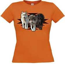 T Shirt in orange with Animal Nature scene Model Indian Wolves