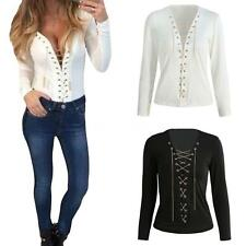 Women's Lace Up Deep V-neck Tie Front Long Sleeve Blouse Top Shirt T-Shirt F8Y0