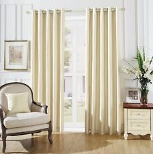 LUXURY LYM STRIPES RING TOP FULLY LINED PAIR EYELET READY MADE CURTAINS CREAM