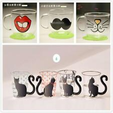 Creative Cat Red Lips Glass Mug Tea Milk Water Cup Coffee Cute Kids Gift