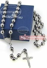 8mm Stainless Steel Jesus Christ Crucifix Cross Rosary Bead Necklace Silver Tone