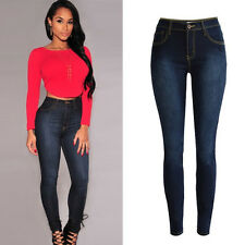 Womens Elastic Stretch Casual Denim Skinny Jeans Pants High Waist Jeans Trousers