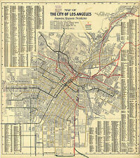 1906 Transit Map L.A. Los Angeles Streetcars Railway Vintage Wall Art Poster