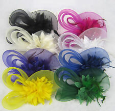 Flower Feather Fascinator Hairpin Clip Women Hair Accessories Hair band