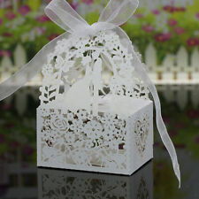 50x Love Heart Laser Cut Candy Gift Boxes Ribbon Wedding Party Favor 3 Colors