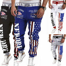 Men US Flag Jogging Sports Training Long Sweat Pants Bottom Casual Gym Trousers