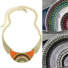Charming Women Lady Ethnic Style Moon Pendant Leaf Choker Chain Necklace Jewelry