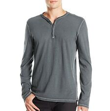 John Varvatos Star USA Men's Long Sleeve 4 Snap Henley Reverse Grey $98 msrp NWT