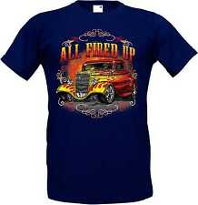 T Shirt im Blue tones with a Hot Rod US Car `50 Style Emotiv Model All Fired Up