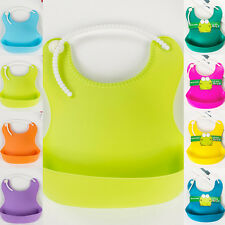 Infant Waterproof Silicone Aprons Baby Feeding Lunch Bibs Saliva Unisex Kids New