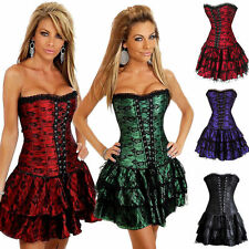 Sexy Corset Dress Lace Overbust Costume Corsets Bustier Top & Skirt Club-wear 2X
