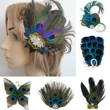 Vintage Peacock Feather Fascinator Hair Clip Wedding Dance Party Bride Headpiece