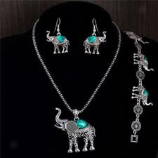Vintage Antique Silver Necklace Bracelet Earring Elephant Turquoise Jewelry Set