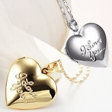 """New Womens 18"""" Gold or Silver Plated Heart Locket Pendant Fancy I Love You Chain"""