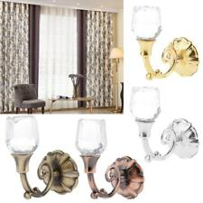 2pcs Crystal Rose Drapery Curtain Tieback Hooks Wall Tassels Hardware