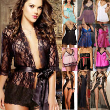 New Women Lace Lingerie Dress Babydoll Underwear Sleepwear+G-string Plus Size