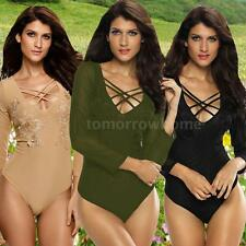 Women O Neck Long Sleeve  Sheer Mesh Bodysuit Jumpsuit Rompers Playsuit Q1U1