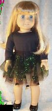 """Doll Clothes  fit American Girl 18"""" inch Ice Skate Bodysuit Skirt Black Green"""