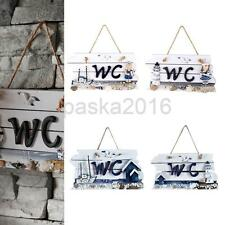 Nautical Hand Carved Door Hanging Wood WC/Welcome Plaque Sign Board Wall Decor