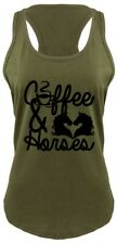 Coffee & Horses Ladies Tank Top Country Cowgirl Western Southern Gift Tank Z6