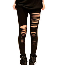 Womens Black Leggings Fantasy Getting Ripped Slashed Destroyed  Free Size X~ XXL